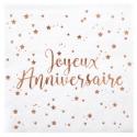 20 serviettes Joyeux Anniversaire métallisé - Rose gold