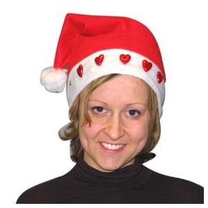 Bonnet Noël cœurs rouges lumineux