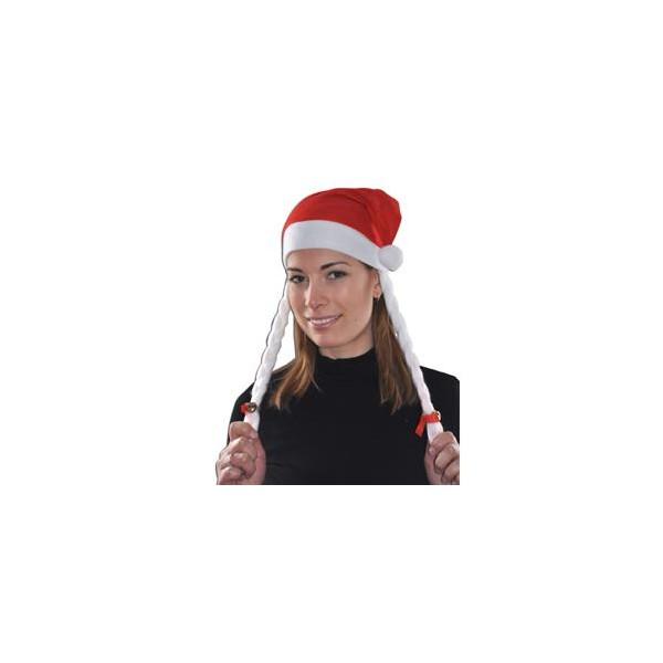 Bonnet Père Noël tresses blanches