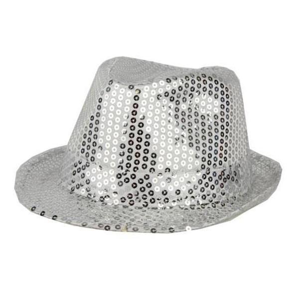 Chapeau funk paillettes argent