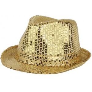 Chapeau funk paillettes or