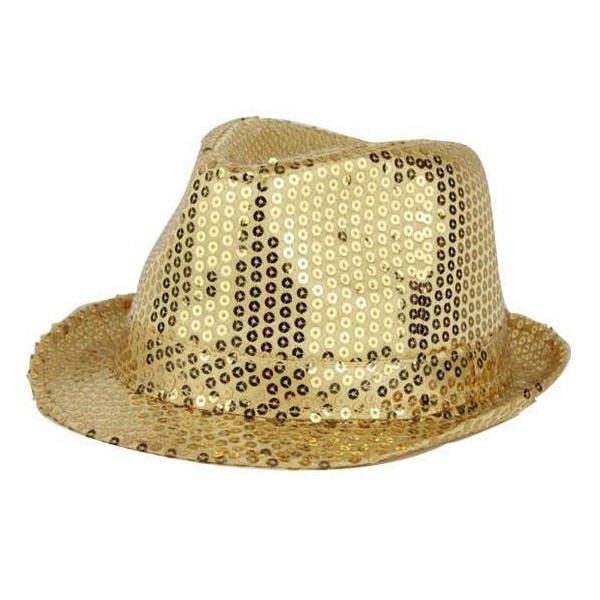 Chapeau funk paillettes or