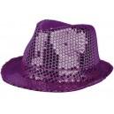 Chapeau funk paillettes violet