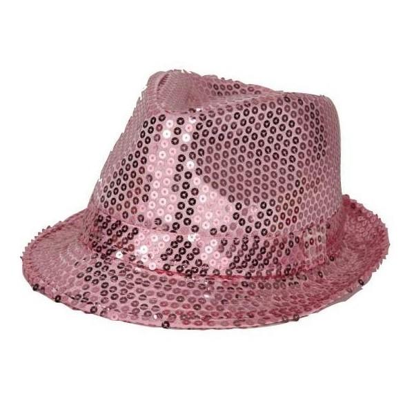 Chapeau funk paillettes rose
