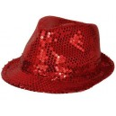 Chapeau funk paillettes rouge