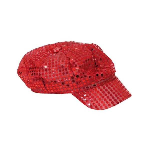Casquette disco paillettes rouge