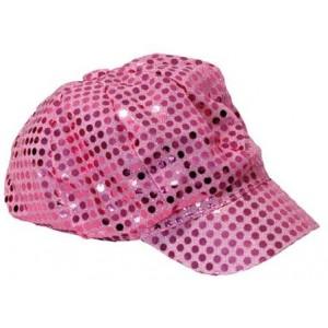 Casquette disco paillettes rose