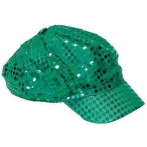 Casquette disco paillettes vert