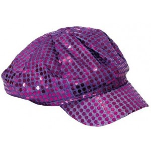 Casquette disco paillettes violette