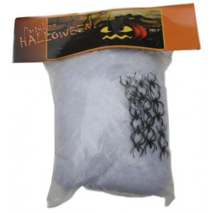 Toile d'araignée blanche 400g + 15 araignées - Décoration Halloween