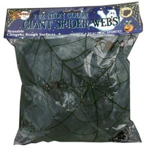 Toile d'araignée noire 50g + 2 araignées - Décoration Halloween