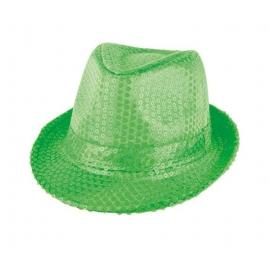 Chapeau paillettes vert fluo