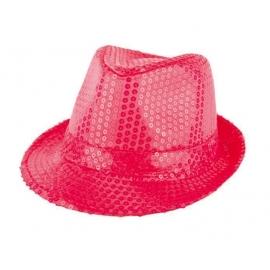 Chapeau funk paillettes rose fluo