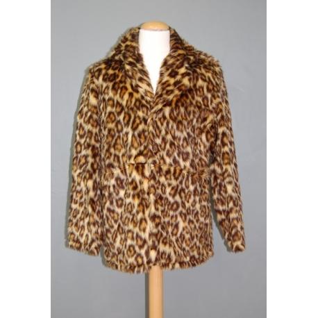 Manteau peluche panthère beige