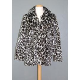 Manteau peluche panthère blanc