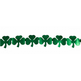 Guirlande pvc St Patrick trèfle vert métal - 8cmx27cm