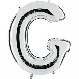 Ballon lettre métal argent 102cm - G