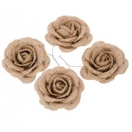 Set de 4 roses en jute 5cm