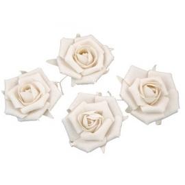 Set de 4 roses en lin blanc 5.5cm