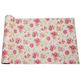Chemin de table lin roses 29cm x 5m