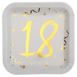 10 assiettes âge or et blanc - 18 ans