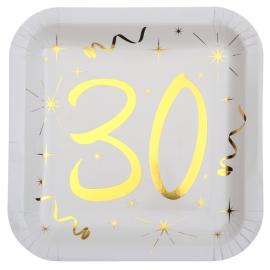 10 assiettes âge or et blanc - 30 ans