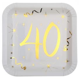 10 assiettes âge or et blanc - 40 ans