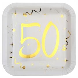 10 assiettes âge or et blanc - 50 ans