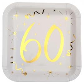 10 assiettes âge or et blanc - 60 ans