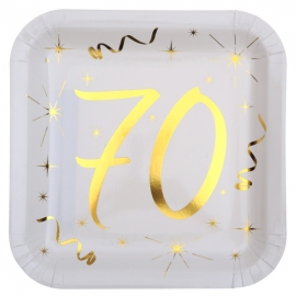 10 assiettes âge or et blanc - 70 ans