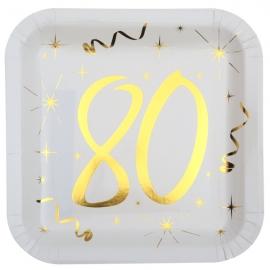 10 assiettes âge or et blanc - 80 ans