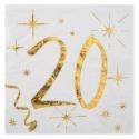 20 serviettes âge noir et blanc - 20 ans