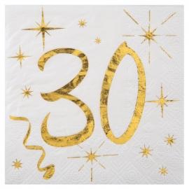 20 serviettes âge noir et blanc - 30 ans