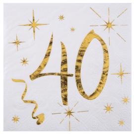 20 serviettes âge noir et blanc - 40 ans