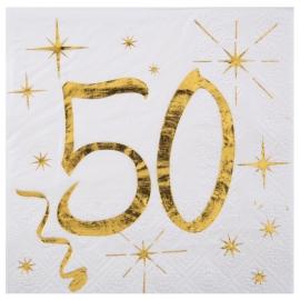 20 serviettes âge noir et blanc - 50 ans