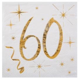 20 serviettes âge noir et blanc - 60 ans
