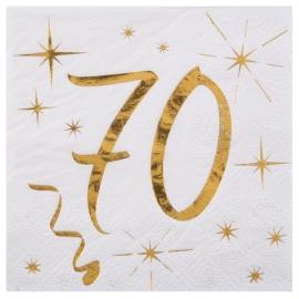 20 serviettes âge noir et blanc - 70 ans