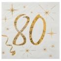 20 serviettes âge noir et blanc - 80 ans
