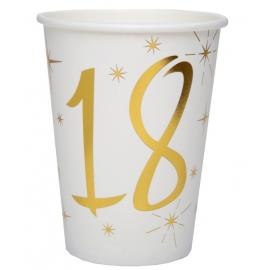 10 gobelets âge or et blanc - 18 ans