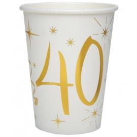10 gobelets âge or et blanc - 40 ans