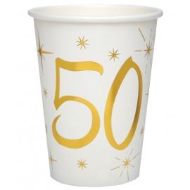 10 gobelets âge or et blanc - 50 ans