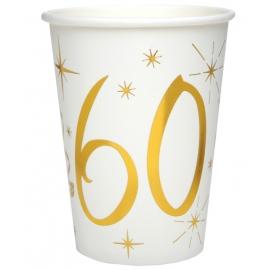 10 gobelets âge or et blanc - 60 ans