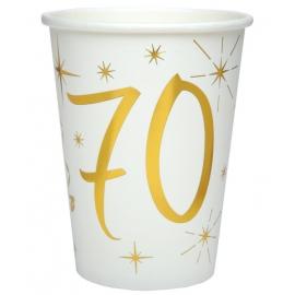 10 gobelets âge or et blanc - 70 ans