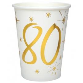 10 gobelets âge or et blanc - 80 ans