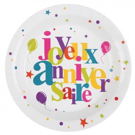 10 assiettes joyeux anniversaire Festif multicolore