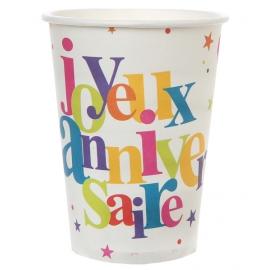 10 gobelets joyeux anniversaire - Festif multicolore