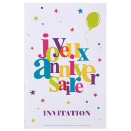 10 cartes d'invitation joyeux anniversaire - Festif multicolore