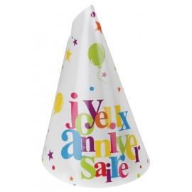 10 chapeaux joyeux anniversaire - Festif multicolore