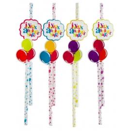 10 pailles joyeux anniversaire - Festif multicolore