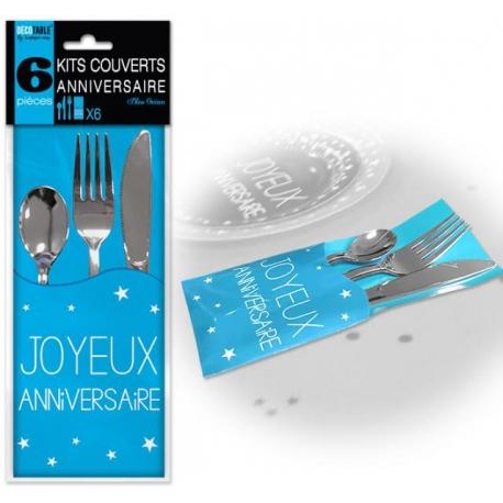 6 Kits couverts joyeux anniversaire - Bleu